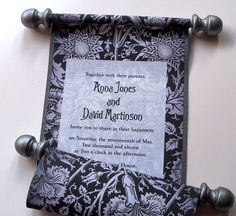 Elegant wedding invitation scroll on damask fabric metallic pewter accents with black, set of  25