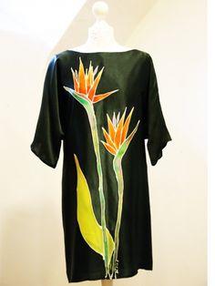 Sukienka jedwabna - Kwiaty strelicji