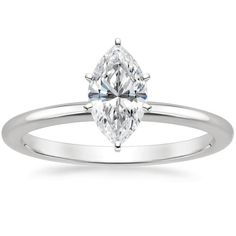 Marquise Cut Six-Prong Petite Comfort Fit Diamond Engagement Ring - 18K White Gold