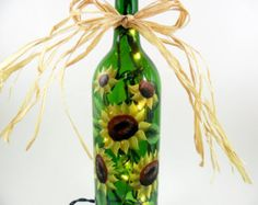 Lighted Wine Bottle Sunflowers Green Hand by PaintingByElaine