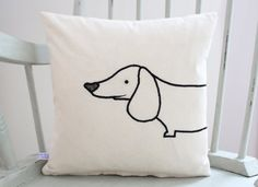 Sausage Dog Cushion Cover by MissSDesigns on Etsy