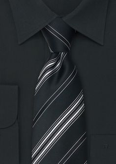Black and White Silk Ties<br />Formal Black Necktie With White Striped