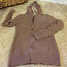 Taupe sweatshirt hoodie made from Organic cotton Beautifully soft and comfortable cotton hoodie with beige organic design on either side of the zipper.   Double front pockets. Even though it is old it does not show much age. Tops Sweatshirts & Hoodies