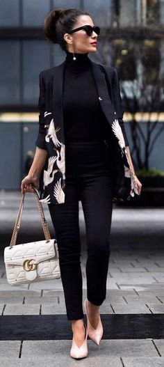 beautiful business style: jacket + top + pants + white bag + heels