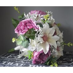 Bridal Bouquet - Garden Style - Ready To Ship, Rose, Peony & Clematis - Mauve Pink & Ivory Boho Wedding Bouquet, Pink Wedding Theme, Bride Bouquets, Silk Roses, Silk Flowers, Pink Color Schemes, Bridal Flowers, Clematis, Garden Styles