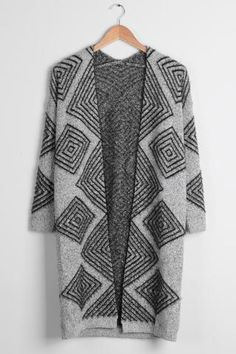 Cupshe Warm It Up Rhombus Knitting Long Sweater Cardigan
