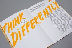 Use contrasting fonts like this bright yellow handwritten title and plain black serif body copy to really make an impact | Editorial Design Inspiration: 99U Quarterly Mag No.4