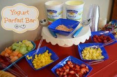 A Yogurt Parfait Bar works great for all ages and is very kid friendly! #yogurt #fruit #party #habplaydate
