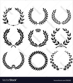 Vector image of Set - laurel wreath Vector Image, includes design, icon, sport, competition & branch. Illustrator (.ai), EPS, PDF and JPG image formats.