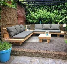 Why Teak Outdoor Garden Furniture? Backyard Seating, Outdoor Seating Areas, Outdoor Lounge, Backyard Patio, Backyard Landscaping, Backyard Ideas, Diy Garden Seating, Outdoor Couch, Outdoor Living