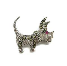 Marcasite Sterling Scottie Dog Pin Vintage .925 Silver Dog