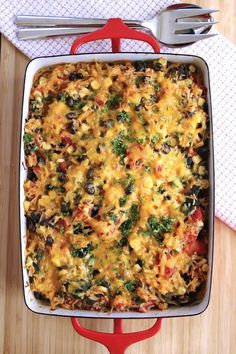 Rice and Black Bean Casserole use brown rice & organic vegetables ;)