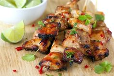 Key West Grilled Chicken- 3 T soy sauce, 2 T honey, 1 T vegetable oil, Juice of 1 Lime, 1 tsp minced garlic, 4 skinless, boneless chicken breast halves or cubed, cilantro-optional.