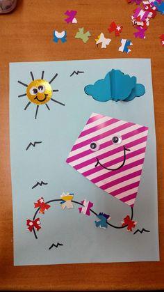 Kite / uçurtma Creative Arts And Crafts, Easy Crafts For Kids, Art For Kids, Fall Paper Crafts, Summer Crafts, Christmas Crafts, Kites Craft, Preschool Art Activities, Alphabet Crafts