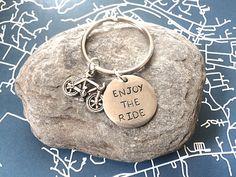 Handstamped Keychain 'Enjoy the Ride'