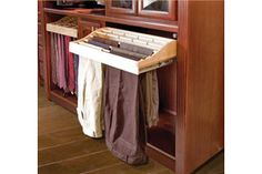Accessible pants storage for your closet - easy to pull out and great for those in wheelchairs or mobile devices. #aginginplace