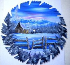 Got the Blues by  Amber from BeachGurlBoutique  Hand Painted Saw Blade Mountain Cabin by make in small saw blade. $16.00