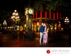 Best Award winning Vancouver wedding photographers -Povazan Photography - Steam Clock Gastown engagement bride kissing groom: Kissing under Steam Clock in Gastown Vancouver. That is the final image of Daisy and Wilson epic e-session in the middle of the night at this scenic and popular location in the heart of Vancouver. Brick walls, twinkle lights, great restaurants lot's of tourists and centuries of memories. One of the most visited streets in the city. Wedding couples love this for…