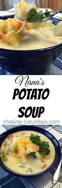 Nana's Potato Soup - Quick and Easy Recipes with Friends - Suppe Chilli Recipes, Easy Soup Recipes, Side Recipes, Dinner Recipes, Slow Cooker Recipes, Crockpot Recipes, Cooking Recipes, Oven Recipes, Potato Dishes