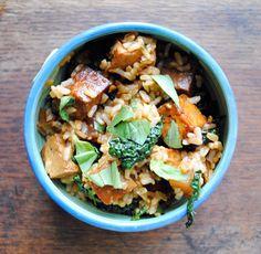 Food: Eleven Delish Tofu Recipes  (via Restorative Rice: Tofu Rice Bowl with Italian Greens – A cooking blog - Kitchenist)