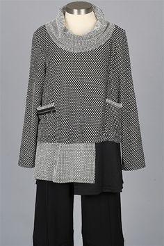 Y&S Fashion Designers - Cowl Dot Top - Black & White Polka Dot