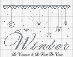 Nevica...una neve sottile, ha coperto tutto stanotte. ...e guardando dalla finestra si vedono uccellini solitari sui rami spogli, c... Xmas Cross Stitch, Cross Stitch Christmas Ornaments, Just Cross Stitch, Cross Stitch Charts, Cross Stitch Designs, Cross Stitch Patterns, Christmas Cross, Quilt Stitching, Cross Stitching