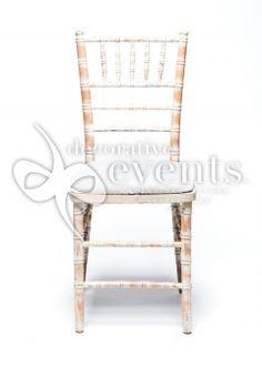 Charmant Tiffany Chair   Limewash W/ White Chair Pad