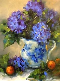 Artists Of Texas Contemporary Paintings and Art - Before the Storm Blue Hydrangeas by Texas Flower Artist Nancy Medina