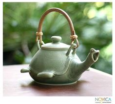 Novica Handmade Ceramic 'Lingering Turtle' Teapot (Indonesia) (Solid), Green