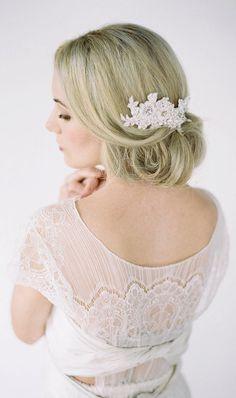RUBY Bridal Headpiece Lace Hair Comb Vintage Lace