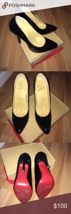 RED SOLE BLACK PATENT HEELS SIZE 40 Wear only 2 times ! Shoes Heels