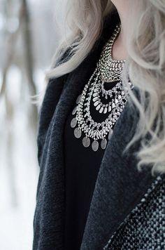 Silver layered Necklace. Grey hair. Tonal splendor.