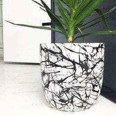 Painted Plant Pots, Painted Flower Pots, Concrete Planters, Diy Planters, Beton Design, Cement Art, Decoration Plante, Cactus Flower, Pottery Painting