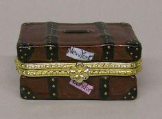 Limoges Travel Steamer Luggage Trunk Trinket Box Crown & Crossed Swords Mark
