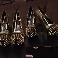 Shoes Black and gold spiked platform heel Shoes Heels