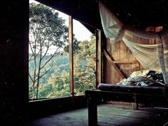 Rustic nook and beautiful scenery in Los Cedros, Nicaragua Cabins In The Woods, House In The Woods, Living Haus, Houses Architecture, Canopy Architecture, Serene Bedroom, Nature Bedroom, Forest Bedroom, Dream Bedroom
