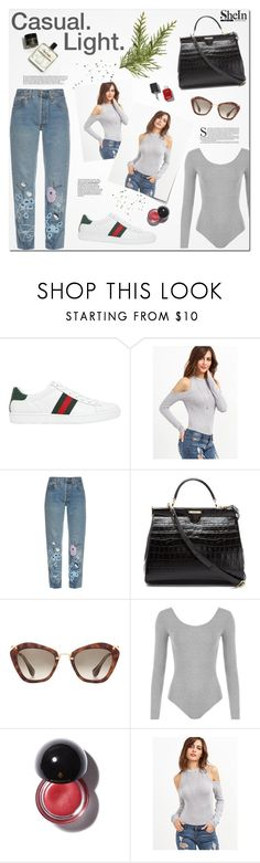 """And I live in a world oh so small that I can't get around at all."" by kristinadyomina ❤ liked on Polyvore featuring Gucci, Bliss and Mischief, Aspinal of London, Miu Miu and WearAll"