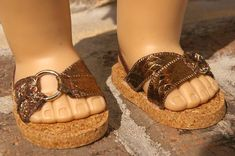 American Girl, 18 inch doll SANDALS SHOES Flipflops in BRONZE Brown Metallic Faux Leather with Ring Trim with Heel Strap