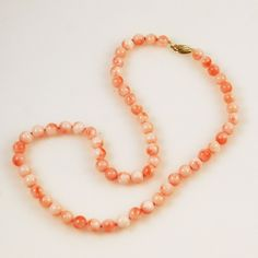 Pink Coral Necklace 7mm 14Kt Gold Clasp Coral Jewelry, Beaded Jewelry, Beaded Necklace, Gold Pearl, Gemstone Beads, Jewelry Collection, Amethyst, Vintage Jewelry, Jewelry Making