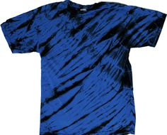 Royal and black tiger stripe tie dye shirt.  A novel tie dye look of the wild.  Now if tigers only came in royal and blue.