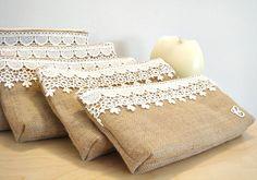 Burlap elegant rustic clutch Bridesmaid unique by VixDesignStudio, $29.00