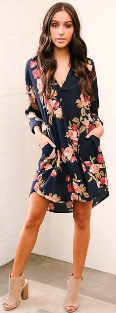 #winter #outfits blue and pink floral v-neck dress
