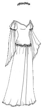 """""""Black and White Medieval Gown with Flower Garlands"""" [Liana's Paper Doll Blog]"""