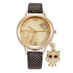 NEW Rhinestone Watch Women Owl Pendant Watch Leather Analog Quartz Watch