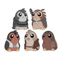 """cevemo: """"*meep* """" Hey Guys! This month on Patreon is Porg month! Meaning I'm making these guys as stickers and charms! It's the only way to guarantee an item, and that it even gets made. I need one person from each tier to request the item for it to..."""