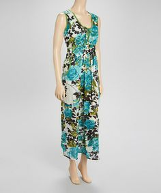 Look what I found on #zulily! Green & Blue Floral Maxi Dress by Funky People #zulilyfinds