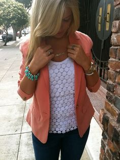 coral blazer and jeans <3