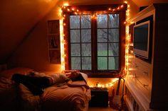 Bedroom window fairy lights