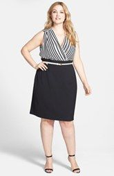 Calvin Klein Striped Surplice Dress (Plus Size)