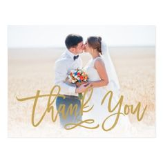 Chic Hand Lettered Wedding Thank You Postcard Gold - gold wedding gifts customize marriage diy unique golden